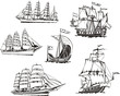 Постер, плакат: Sketches of sailing vessels