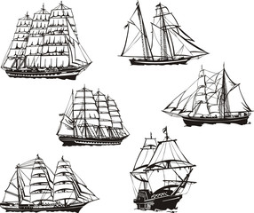 Sketches of sailing ships