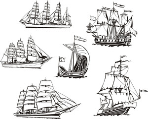 Sketches of sailing vessels