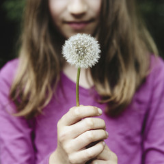 A ten year old girl holding a dandelion clock seedhead on a long stem.
