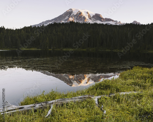 View of Mount Rainier from Reflection Lakes at dawn in Mount Rainier national park.