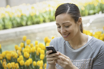 Urban Lifestyle. A woman in the park, by a bed of yellow tulips, using her mobile phone.