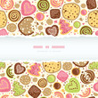 Vector colorful cookies horizontal torn frame seamless pattern