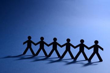 team work people in chain cutout figure