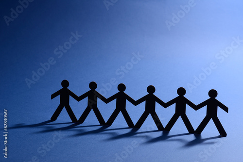 team work people in chain cutout figure