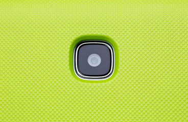 Smartphone or tablet pc camera lens closeup.