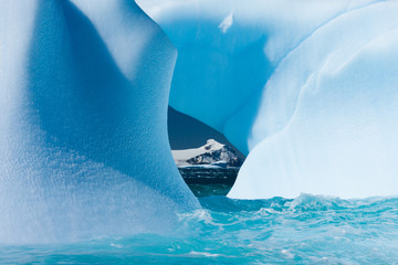 Floating icebergs framing a view of the ocean, Antarctica