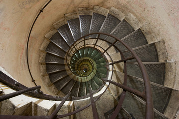 Spiral staircase in the Arc de Triomphe, Paris, France