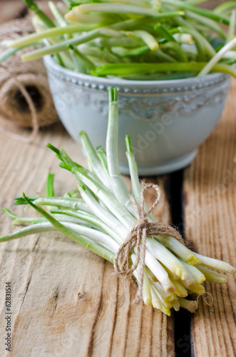 Ramson on a wooden table
