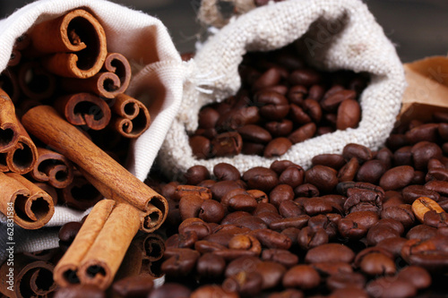 Coffee beans in canvas sack close-up