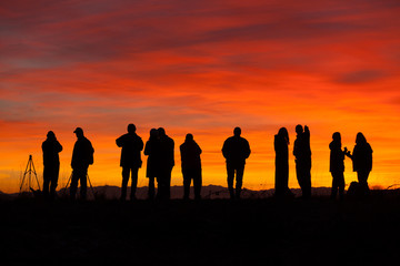Photographers at sunset, Skagit Flats, Washington
