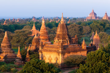 Stupas in the Bagan Archaeological Zone in Bagan, Myanmar