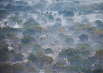 Aerial view of Bagan, the plain of pagodas in Myanmar