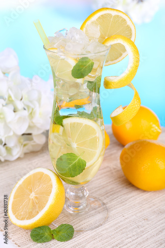 Glass of cocktail with lemon and mint