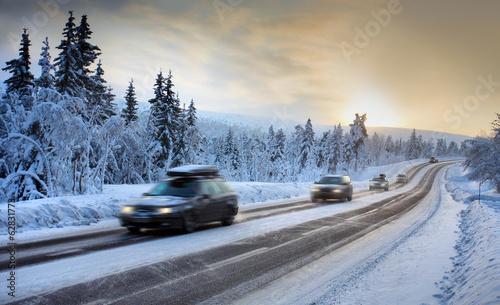 canvas print picture Motion Blur of Car