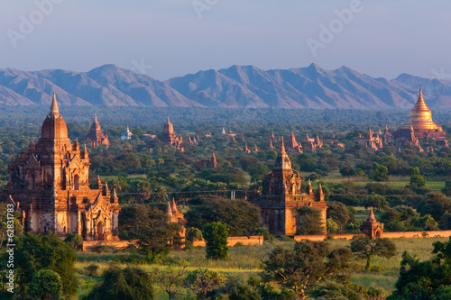 Stupas on the plains of Bagan, Myanmar. Bagan Archaeological Zone.