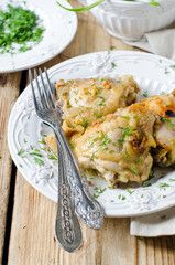 Baked chicken in a dish