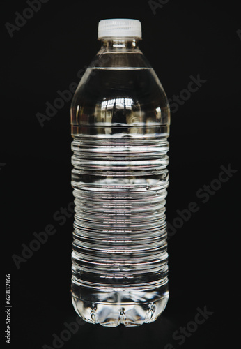 Filtered water in clear, plastic bottle, close up