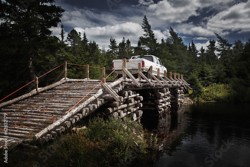 Wooden Bridge with Light Truck