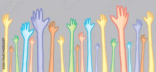 Different people raising hands with diversity