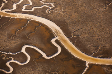 San Francisco Bay salt flats with glistening water channels in California, USA