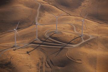 Wind generators across the landscape at Altamira Pass, California