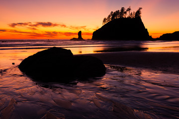 Second Beach at sunset in Olympic National Park, Washington, USA
