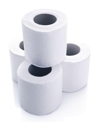 Color toilet paper rolls isolated on white