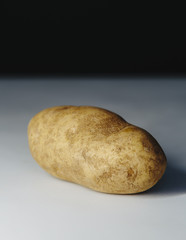 A scrubbed clean organic russet potato.