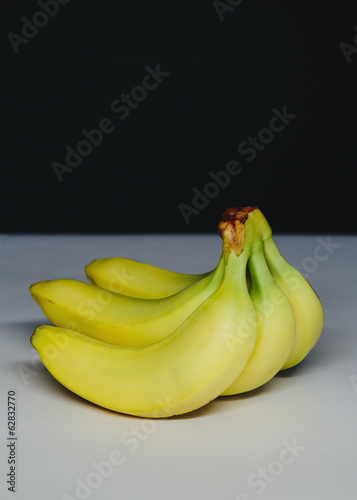 Organic bananas, in a bunch.
