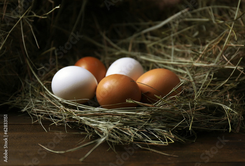 Eggs on hay, close up