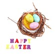 Easter eggs in wreath isolated on white