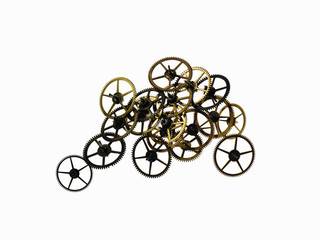 Watch gears, small precision made cog wheels with spokes and fine teeth or notches around the edge. Arranged in a pile.