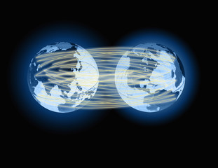 Two globes linked by lines of light, representing global communication.