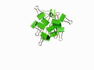 Green Office Supplies. Paperclips on a white background.