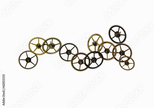 Watch gears, small precision made cog wheels with spokes and fine teeth or notches around the edge. The moving parts of a watch.
