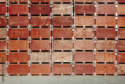 Large stack of fruit boxes for harvesting and storing apples, near Quincy