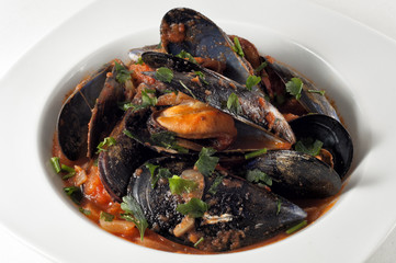 Mejillones a la marinera. mussels with seafood