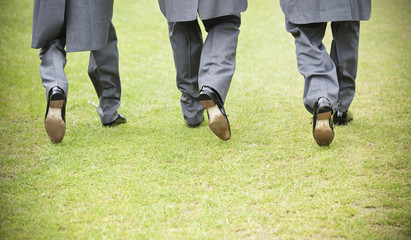 Groom and two best man in black shoes, grey trousers and morning coats walking along a lawn. Back view.