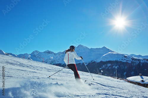 Ski Action in den Alpen