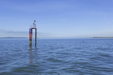 A navigation buoy in the sea.