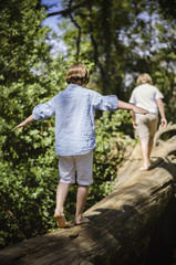Two boys camping in the New Forest. Walking along a log above the water, balancing with their arms outstretched.