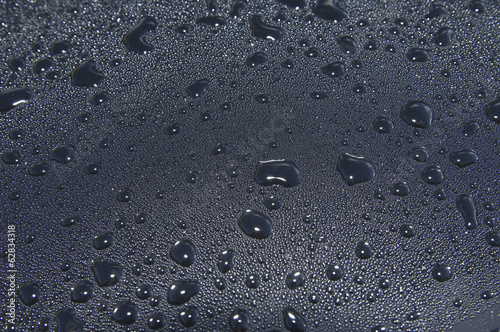Water droplets on a car windscreen.
