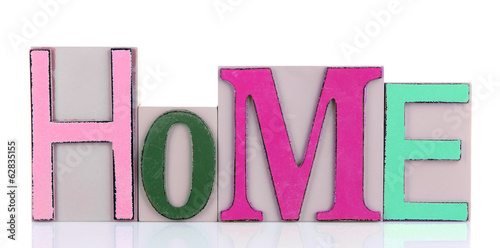 Decorative letters forming word HOME isolated on white