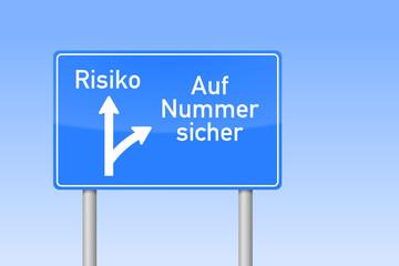 verkehrszeichen viereckig auf nummer sicher risiko I