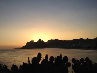 Sunset on Leblon and Ipanema beach, Rio de Janeiro