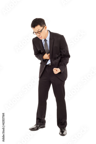 businessman with strong stomach pain