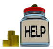Help Jar Shows Monetary Support Or Contribution
