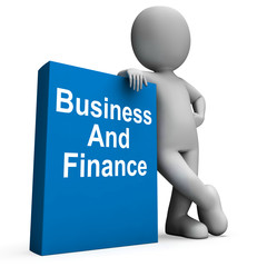 Character With Business And Finance Book Shows Businesses Financ