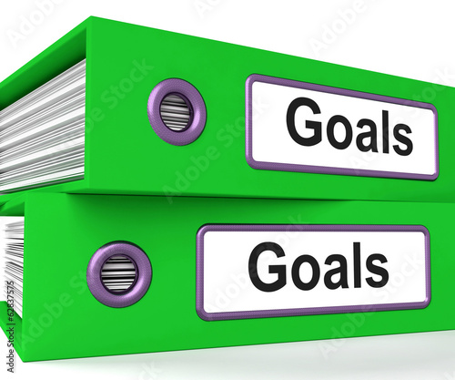 Goals Folders Show Direction Aspirations And Targets